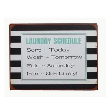Blechschild Laundry Schedule - lustiges Wandschild
