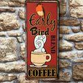 Wandschild Early Bird Blend Coffee - Kaffee Blechschild im Vintage Look  – Bild 3