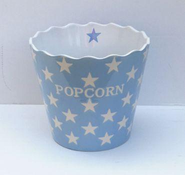 POPCORN Snack Schale Bowl Stars - Sterne hellblau handbemalt
