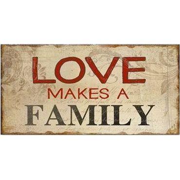 Kühlschrankmagnet - LOVE MAKES A FAMILY - Magnet im Antik Look