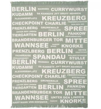 Kuscheldecke - Wohndecke Berlin beige mit Fransen 150 x 200 cm
