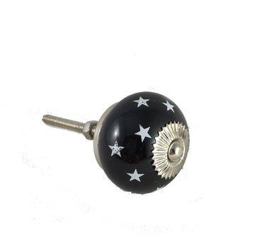 Möbelknopf - Möbelknauf STARS Sterne Schwarz Weiß Porzellan - 2 Stück