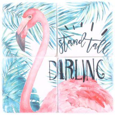 Untersetzer  Stein Set - 4 teilig im Antik Look - Flamingo Palmen