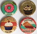 Untersetzer Set - 4 teilig im Antik Look - Kuchen Donuts rund