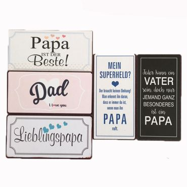 5 Kühlschrankmagnete Set Papa Vater Magnet im Shabby Style