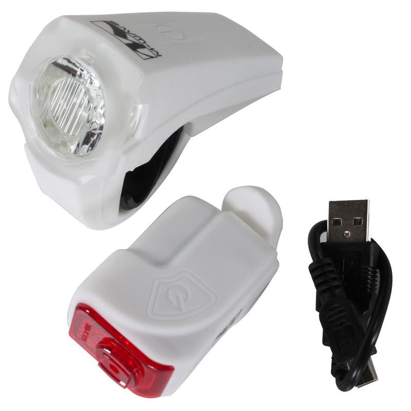 LED-Akkulampenset Batterielampe Licht Vorne und Hinten Silikon Beleuchtung Lichter Leuchte Fahrrad StVZO