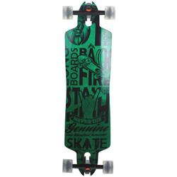 Downhill Longboard Backfire Green Drop Through 91 cm Freeride Skateboard W-Concave Rocker Shape