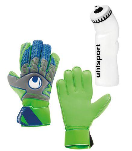Sportskanone Set Madrid Fingersave Torwarthandschuhe mit Fingerschutz + Trinkflasche