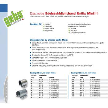 """Edelstahl Rohr Dichtband / Dichtschelle 26-30 mm 3/4"""" Unifix – Bild $_i"""