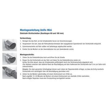 Edelstahl Rohr Dichtband / Dichtschelle 42-45 mm 1 1/4 Zoll Unifix – Bild $_i