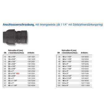 Gebo PE Rohr Verschraubung 25mm x 1/2 Zoll Innengewinde Anschluss Übergang – Bild $_i