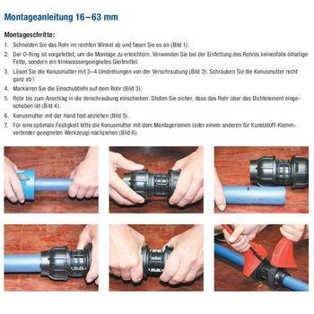 Gebo Kunststoff Verschraubung Kupplung 32mm Muffe Klemmverbinder Fitting PE Rohr – Bild $_i