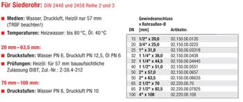 Temperguss Klemmverbinder 2 Zoll AG x 57,0 mm Siederohr – Bild $_i