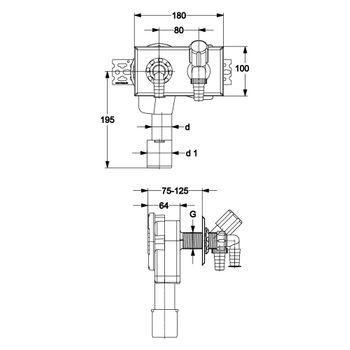 PE Unterputzsiphon mit Geräteventil waagerecht DN 40 / 50 mm – Bild $_i
