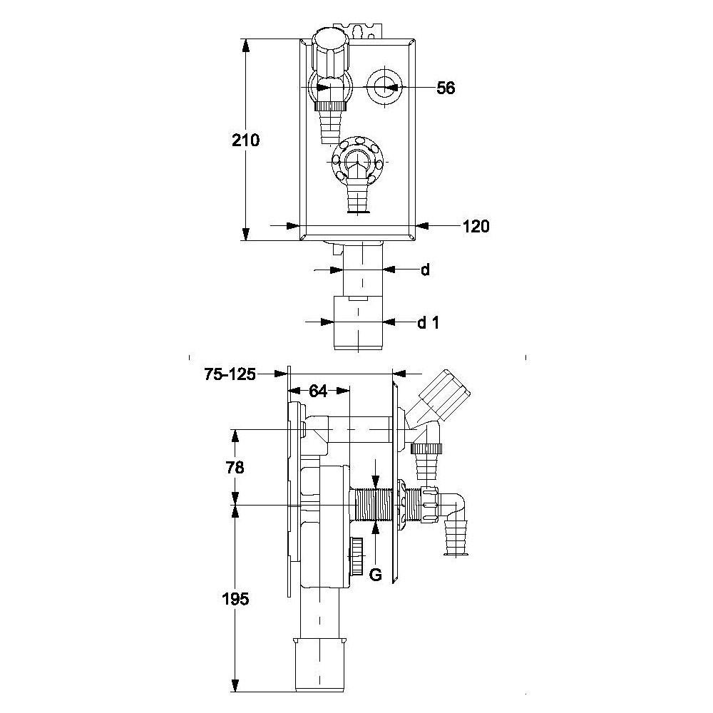 Haas 4070 PE Unterputz Siphon senkrecht DN 40 / 50 mm Unterputzsiphon Ablauf Abfluss UP Waschmaschine Geschirrspüler