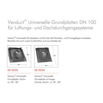 Klöber Dachentlüftung DN100 Orange Universal Grundplatte Dachdurchführung – Bild $_i