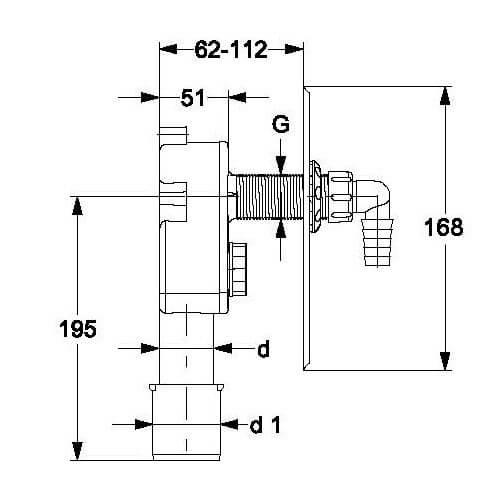 Haas 2074 OHA PE Unterputzsiphon UP Abwasser Wandeinbau Unterputz Geräte Sifon Siphon DN40/50 Waschmaschine Spülmaschine