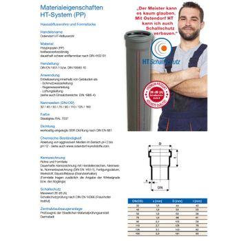 Ostendorf HT Rohr DN50 500mm HTEM Kunststoffrohr Abwasserrohr Abflussrohr grau – Bild $_i