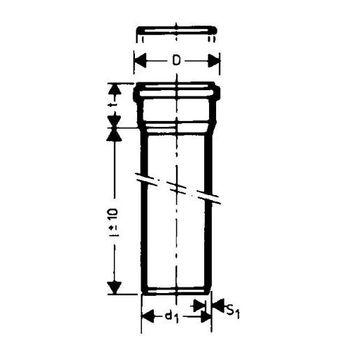 HT Rohr DN75 x 1000 mm Kunststoffrohr 70 mm Abwasserrohr grau – Bild $_i