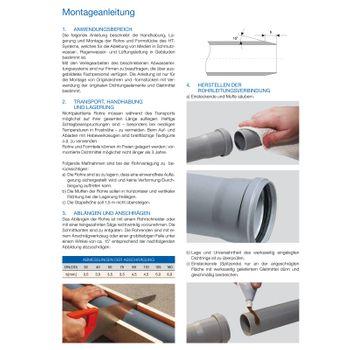 HT Rohr DN110 x 150 mm Abflussrohr 100mm Abwasserrohr grau – Bild $_i