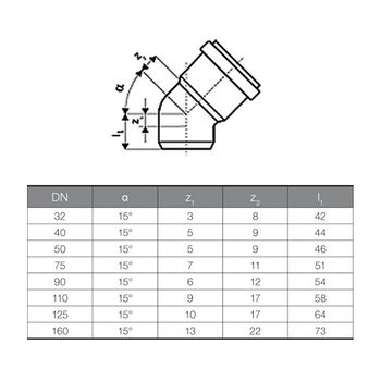 HT Rohr Bogen DN50/15° HTB Winkel Abwasserrohr Abflussrohr grau – Bild $_i