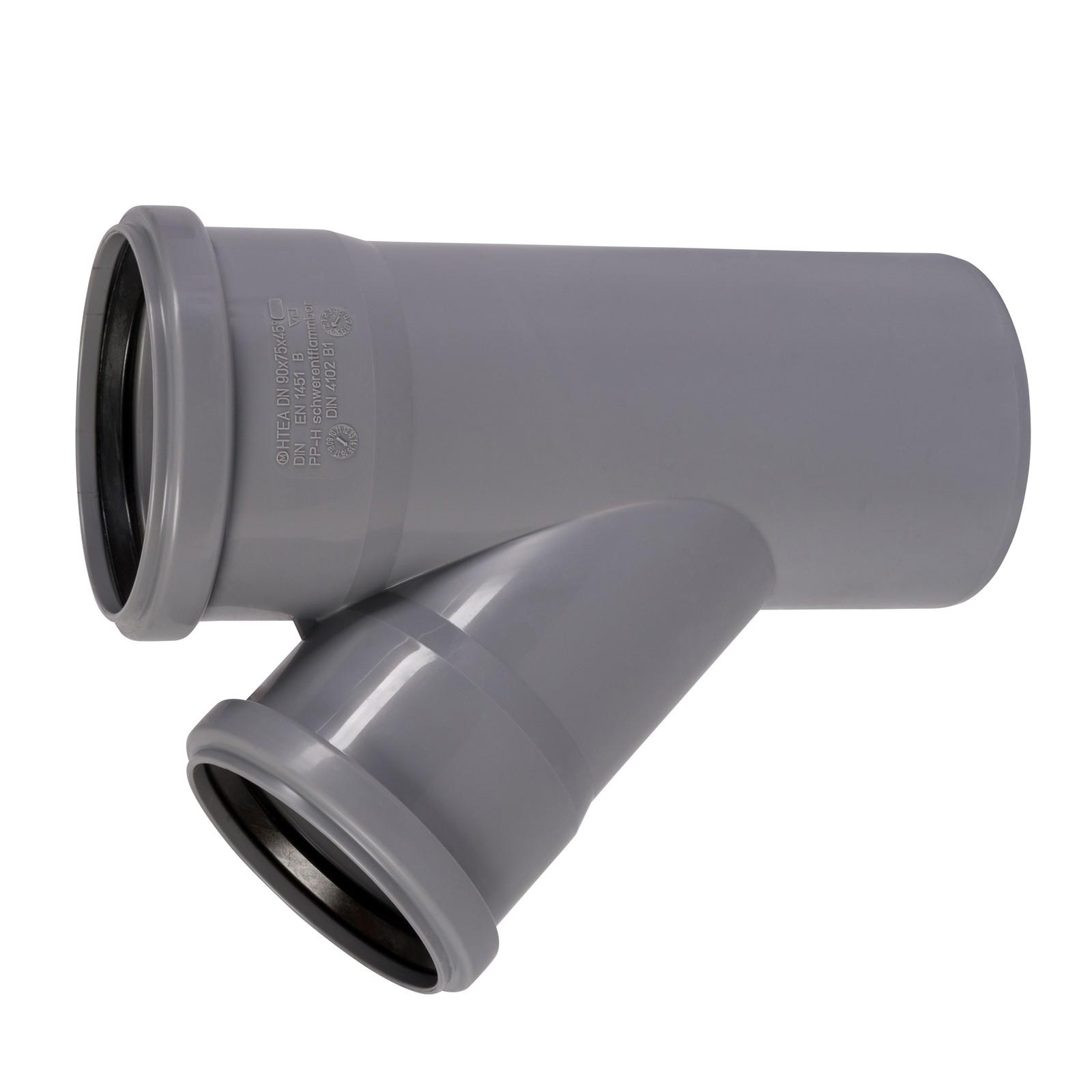 T-Stück Kunststoff HT-Rohr Installation Abwasser 50 mm Grau Abzweig NEU