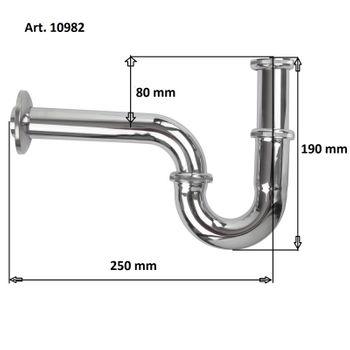 Bad Edelstahl Waschbecken Siphon 1 1/4 Zoll x 32 mm V2A Sifon Röhrensiphon – Bild $_i