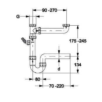 Doppelspülensiphon 1 1/2 Zoll x DN40 mit Geräteanschluß – Bild $_i