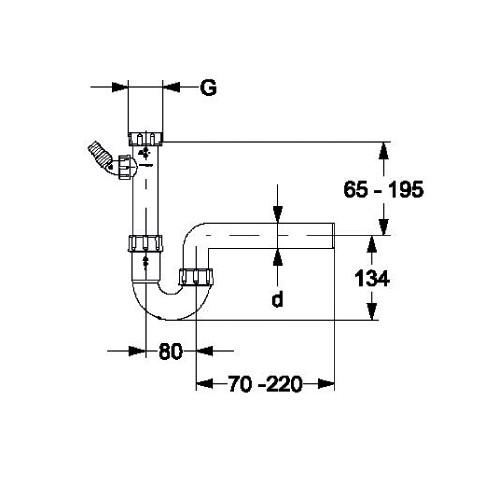 Haas 2915 PP Spülen Siphon 1 1/2 3/2 6/4 Zoll DN50 50mm NW50 Sifon Abfluss Kunststoff Abflussrohr Spülbecken Spüle Spülenablauf