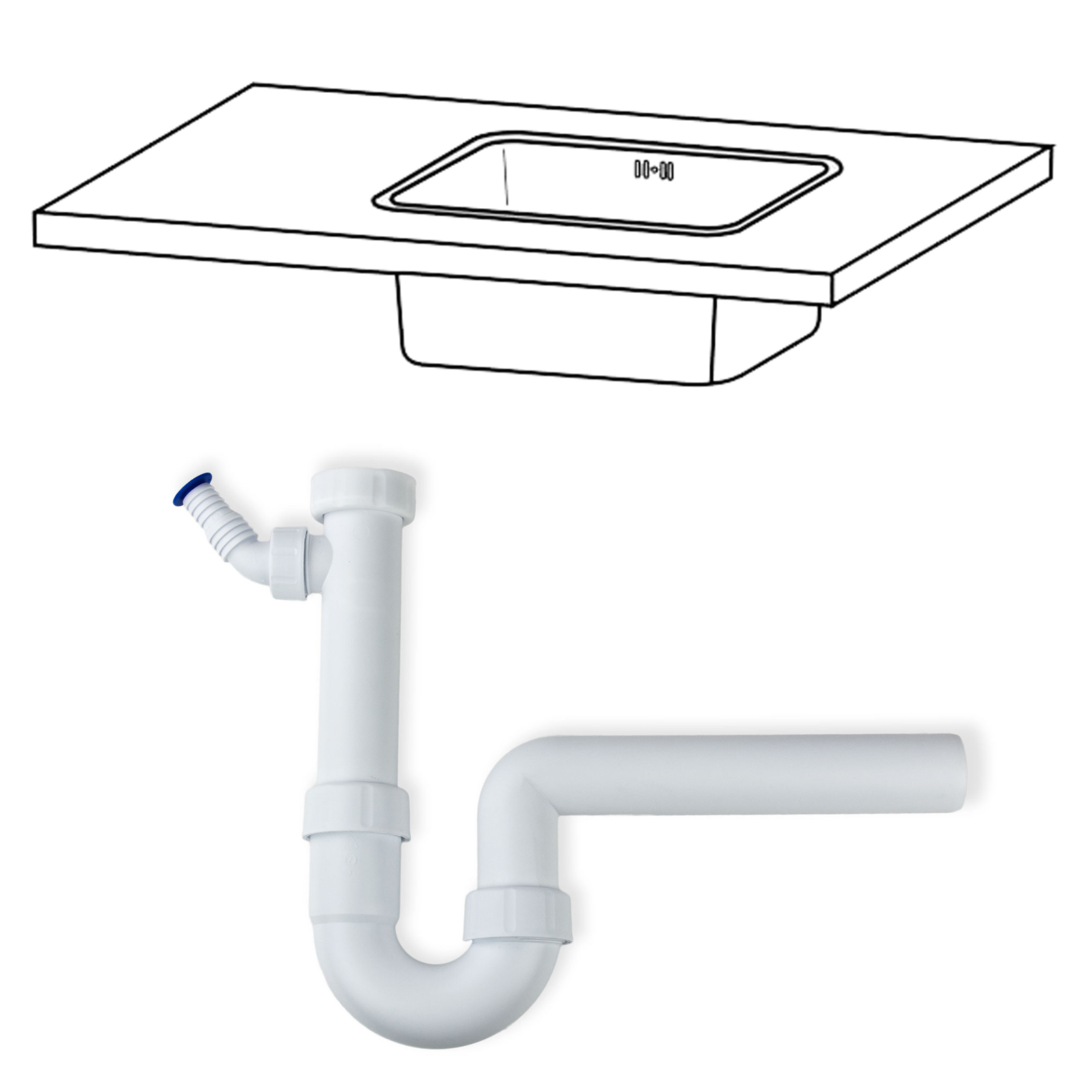 """Abflussrohr Ablauf Überlaufgarnitur Siphon 1 1//2/"""" für Sanitär Waschbecken"""