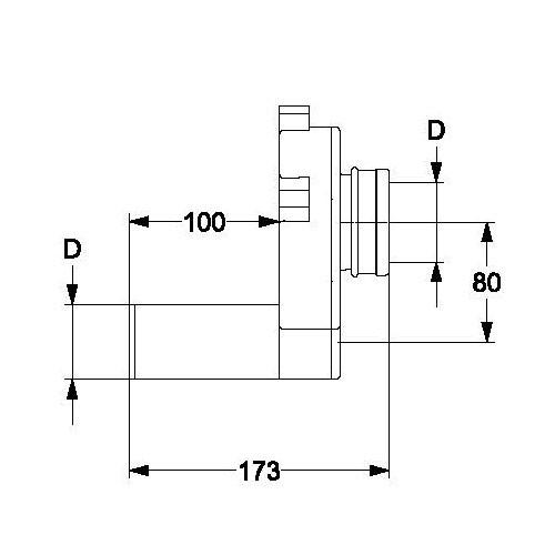 HAAS 6280 Urinal Siphon DN 50 PE Pissoir Absauge Sifon Anschluss Ablaufgarnitur Anschlußgarnitur waagerecht Syphon