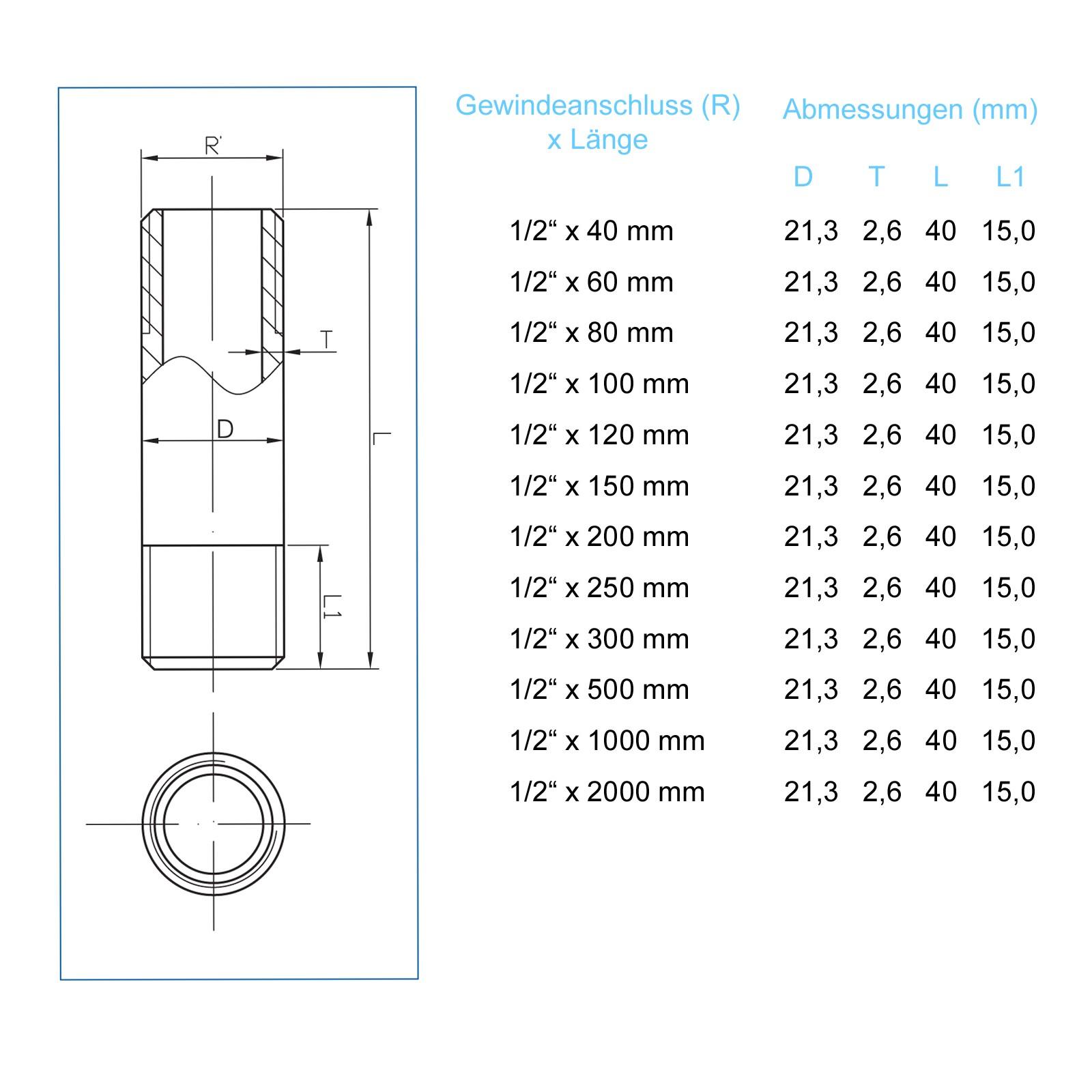 Messing Doppelnippel Rohrdoppelnippel 1 100mm