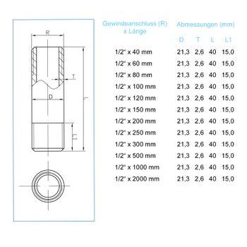 """Rohrdoppelnippel 1/2"""" Zoll 21,3 x 1000mm DN15 Rohrnippel verzinkt – Bild $_i"""