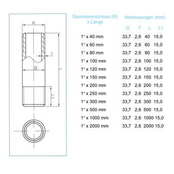 """Rohrdoppelnippel 1"""" Zoll 33,7 x 500mm DN25 Rohrnippel verzinkt – Bild $_i"""
