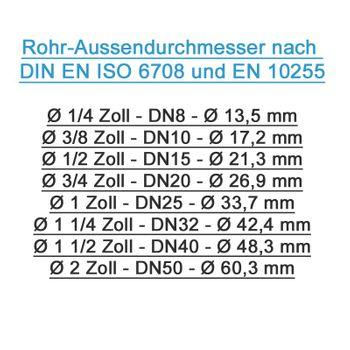 Rohrdoppelnippel 3/4 Zoll 26,9 x 40 mm DN20 Rohrnippel verzinkt – Bild $_i