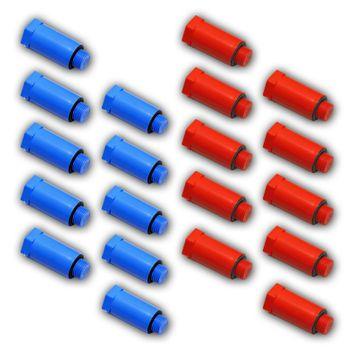 "20x Baustopfen 1/2"" Zoll (10x rot + 10x blau) Kunststoffgewinde – Bild $_i"