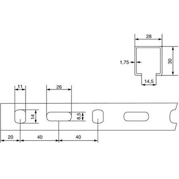 Schienenkonsole / Wandträger / Wandkonsole 28/30 mm 48cm verzinkt – Bild $_i