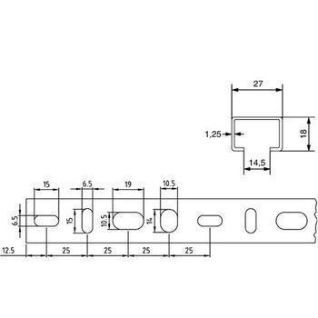 Stahl Schienenkonsole 27x18mm 50cm Rohrträger Wandkonsole Wandausleger verzinkt – Bild $_i