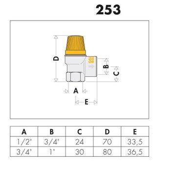 Caleffi Solar Membran Überdruckventil 1/2 Zoll 2,5 bar Sicherheitsventil – Bild $_i