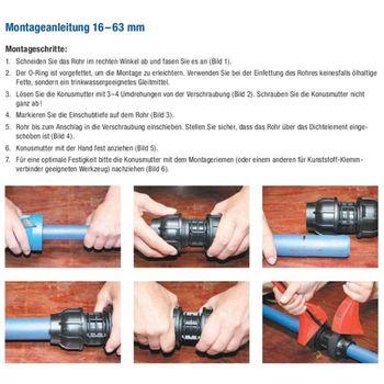 PE Rohr Kupplung Verschraubung 32 x 25 mm Muffe Reduzierstück – Bild $_i