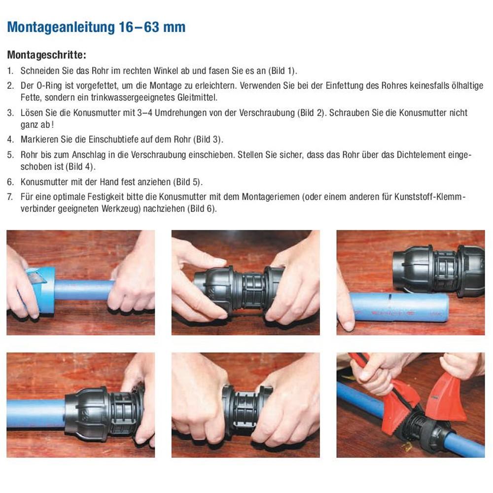 PE Rohr T-Stück 50 mm x 2 Zoll AG T-Stücke Verschraubung Klemmverbinder Fitting