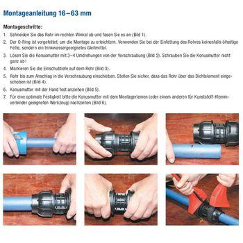 "PE Rohr T-Stück Verschraubung 50 mm x 1 1/2"" Zoll Innengewinde – Bild $_i"