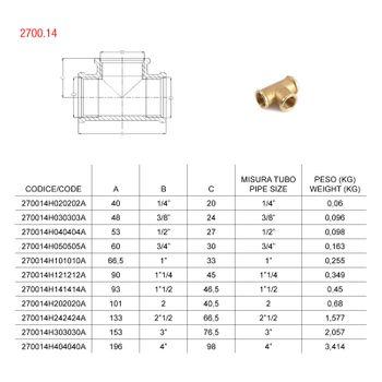 Messing Fitting T-Stück 2 Zoll DN50 Gewindefitting – Bild $_i