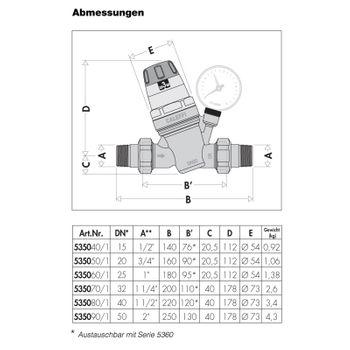 """Wasserdruckminderer 1/2"""" Zoll DN 15 Druckminderer für Wasser – Bild $_i"""