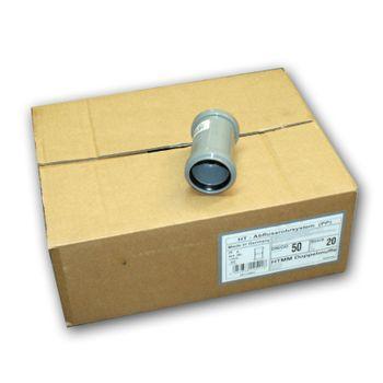 Karton HT Überschiebmuffe DN 50 HTU Kunststoff Rohrmuffe grau  – Bild $_i