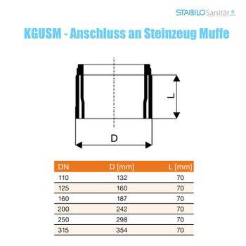 KG Anschluss DN110 Steinzeugrohr-Muffe KGUSM Rohr Abwasserrohr – Bild $_i