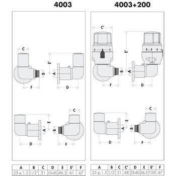 Design Ventilset High-Style 1/2 Zoll Ventilunterteil für Heizkörper links – Bild $_i