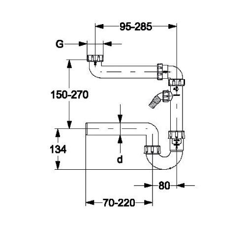 Haas 2895 Raumsparsiphon 1 1/2 3/2 6/4 Zoll x DN50 50mm NW50 Siphon Sifon Raumsparsifon mit Geräteanschluß Spülenablauf
