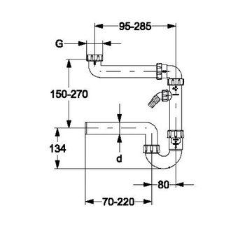 Raumsparsiphon 1 1/2 Zoll x DN 50 Siphon mit Geräteanschluß – Bild $_i