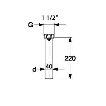 Tauchrohr Bördelrohr 1 1/2 Zoll x DN40 Siphon Sifon – Bild $_i